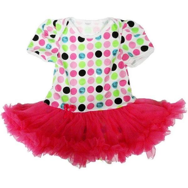 Wenchoice Baby Girls White Hot Pink Polka Dots Tutu Bodysuit