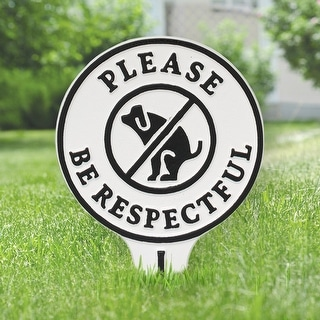 Whitehall Please Be Respectful No Poop Dog Cast Aluminum Yard Sign (White/Black)