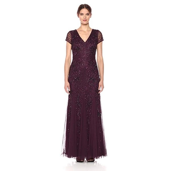 Adrianna Papell Short Sleeve Fully Beaded Long Gown Grid Pattern. Opens flyout.