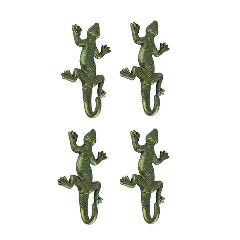Green Gold Cast Iron Lizard Wall Hook Set of 4 - 2 X 7.5 X 4 inches