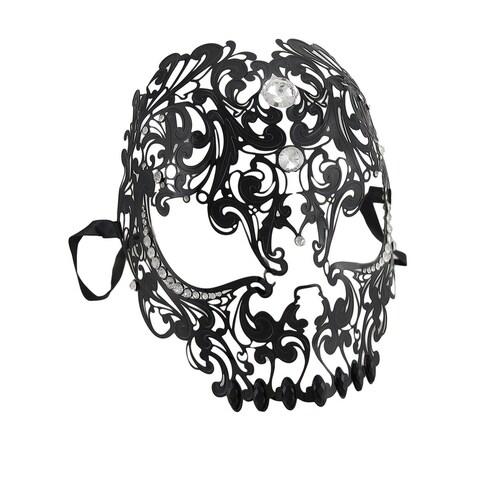 Lacy Black Jeweled Wearable Fantasy Masquerade Mask