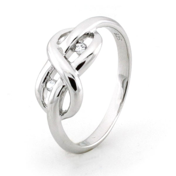 Sterling Silver Infinity Promise Knot Ring w/ Cubic Zirconia