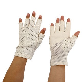Ladies Breathable Half Finger Mittens Outdoor Sun Resistant Gloves Beige Pair