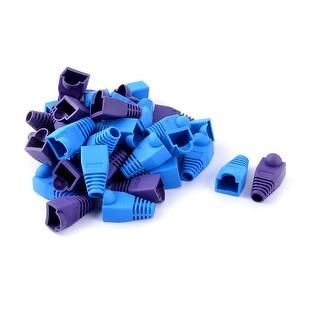 40 Pcs Plastic Ethernet RJ45 Cable Connector Boots Plug Cover Blue Purple
