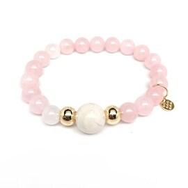 Rose Quartz 'Pride' stretch bracelet 14k Over Sterling Silver