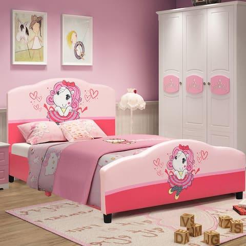 Toddler Bed Kids Children Upholstered Platform Bed