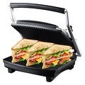 ZZ S677 Gourmet Grill Panini and Sandwich Press with Large Cooking Surface 1500W, Silver - Thumbnail 0