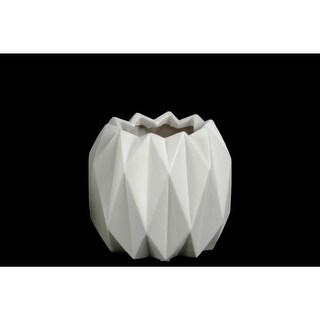 Geometric Patterned Ceramic Vase With Uneven Lip, Short, Matte White