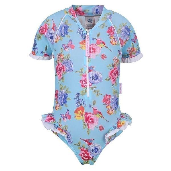 Sun Emporium Baby Girls Blue Fuchsia Blossom Short Sleeved Swimsuit