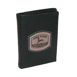 John Deere Men's Leather Trifold Wallet with Embossed Patch - One Size