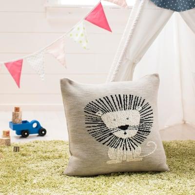 "SAFAVIEH Baby Collection Dandy Lion Pillow - Grey / Black - 20 "" x 20"""