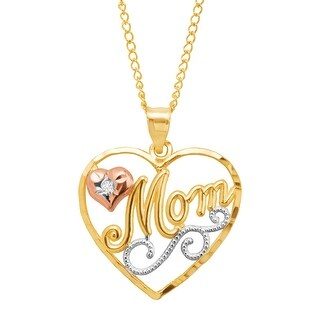 'Mom' Script Pendant with Diamond in 10K Yellow & Rose Gold with Rhodium Plating