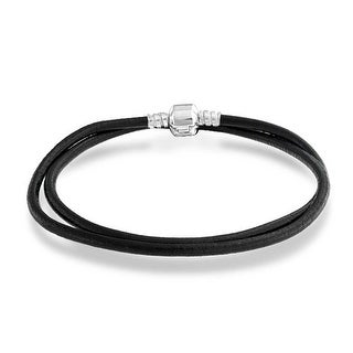 Bling Jewelry Leather Cord Barrel Clasp Necklace .925 Sterling Silver - Black
