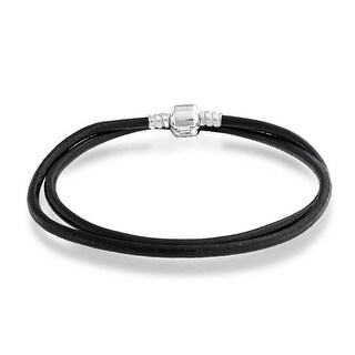 Bling Jewelry Leather Cord Barrel Clasp Necklace .925 Sterling Silver