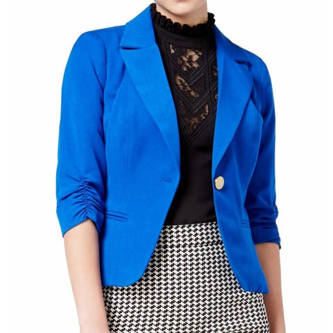 XOXO Royal Blue Womens Size XS Ruched Sleeve Single Button Blazer
