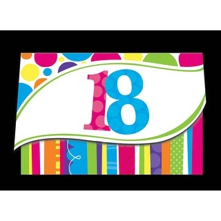 """Club Pack of 48 Bright and Bold Multi-Colored 18th Birthday Invitation 6"""""""
