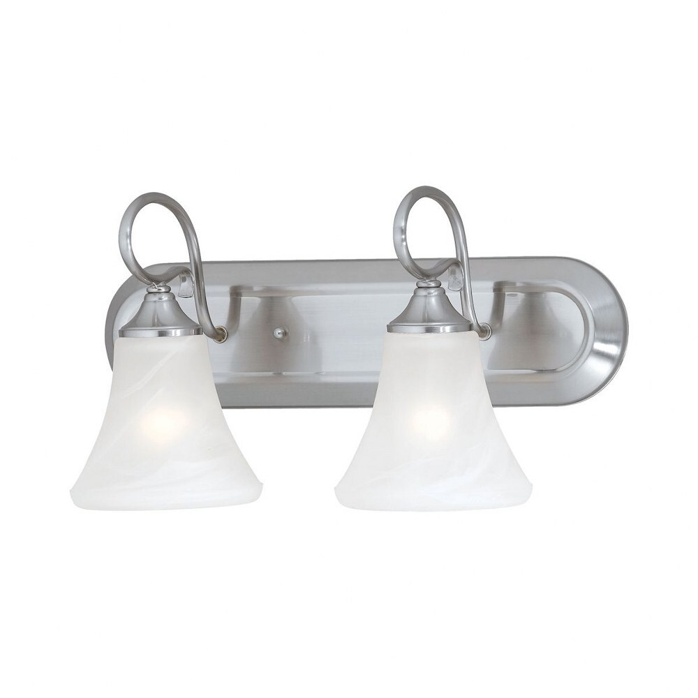 Curved Arm Two Light Bathroom Vanity Light With Oval Back Plate Bell Shaped Glass Shade Overstock 32337325