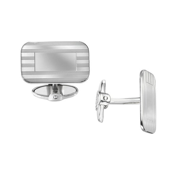 Dolan Bullock Polished Rectangular Cufflinks in Sterling Silver - White