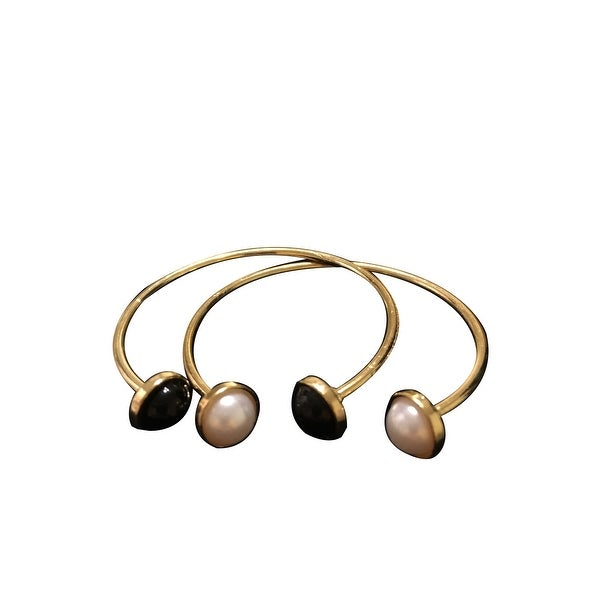 max & MO Double Open Gold Bangle with White Pearl/ Black Pearl Ends