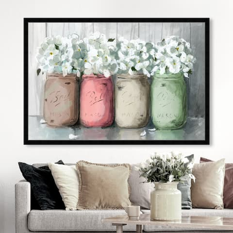Oliver Gal 'Mason Jar Muted' Floral and Botanical Wall Art Framed Print Florals - White, Gray