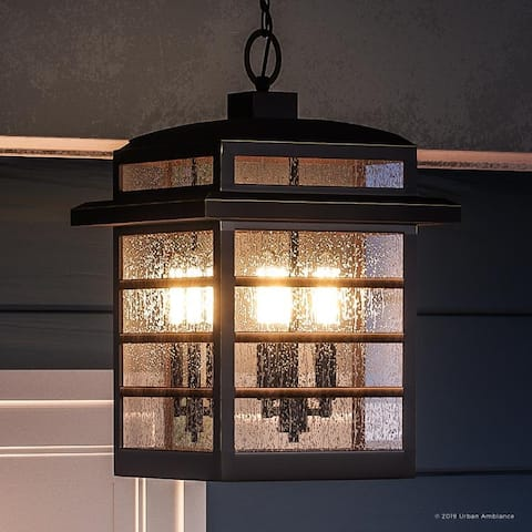 """Luxury Craftsman Outdoor Pendant Light, 15.25""""H x 10.25""""W, with Americana Style, Parisian Bronze Finish by Urban Ambiance"""
