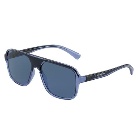 Dolce & Gabanna DG6134 325880 57 Transparent Blue/black Man Square Sunglasses