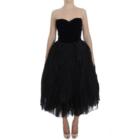 Dolce & Gabbana Dolce & Gabbana Black Floral Lace Corset Pouf Ball Dress - it40-s