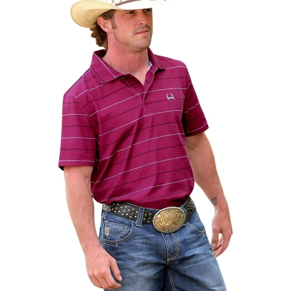 Cinch Western Shirt Mens Short Sleeve ArenaFlex Burgundy MTK1825002