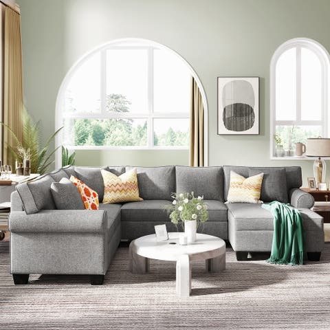 3 pcs Chenille Sectional Sofa Upholstered Rolled Arm Classic Chesterfield Sectional Sofa 3 Pillows Included