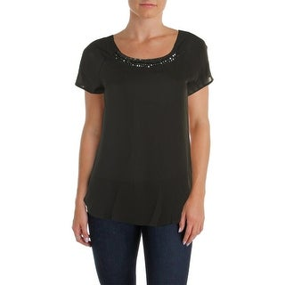 Sanctuary Womens Embellished Pleated Back Casual Top