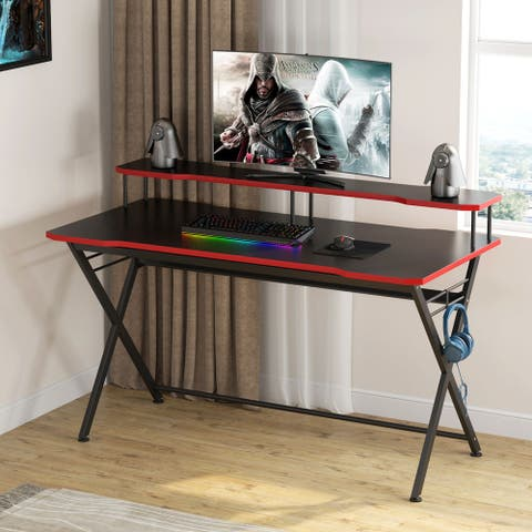 Large Gaming Desk with Monitor Stand, Ergonomic PC Gaming Table - Black/Red