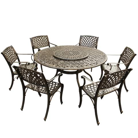 Outdoor Lattice 59 in. Round Dining Set with Lazy Susan and Six Chairs