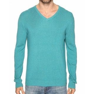 Calvin Klein NEW Blue Grass Mens Size 2XL Ribbed Trim V-Neck Sweater