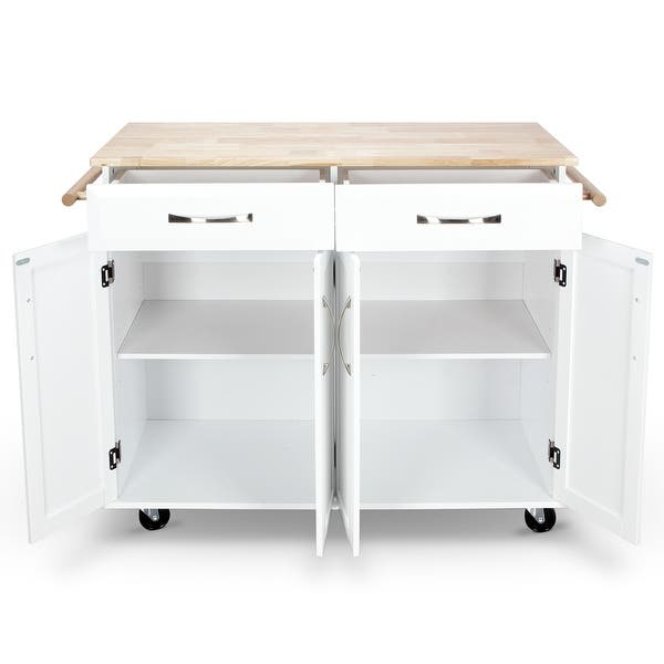 Shop BELLEZE White Wood Portable Kitchen Cart Rolling and ...