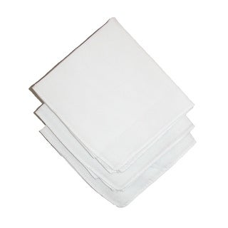 Axxents Cotton White Handkerchiefs (Pack of 3), White - One Size