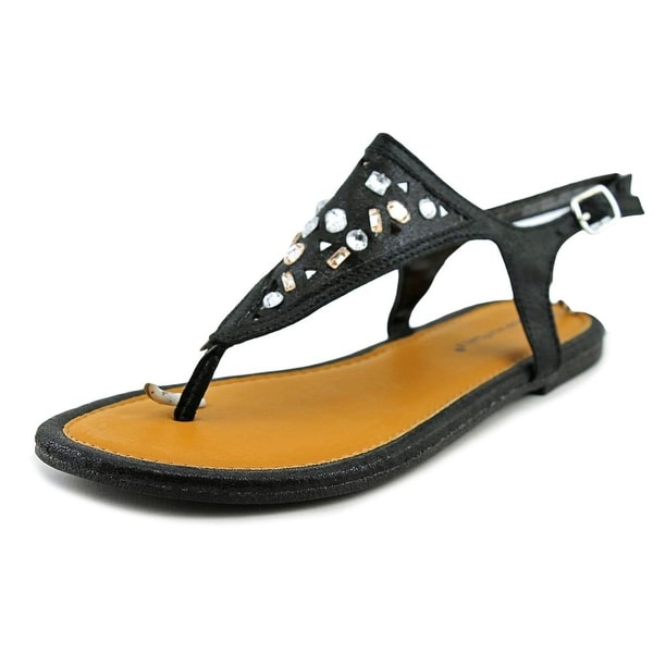 Rampage Girls Ella Youth Open Toe Canvas Black Thong Sandal