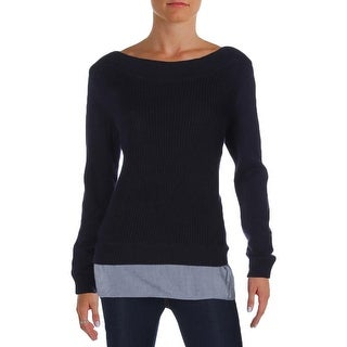 Tommy Hilfiger Womens Casual Top Contrast Trim Knit