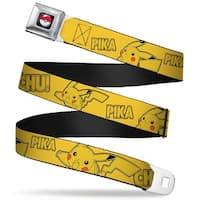 Pok Ball Full Color Black Pikachu Attack Poses Pika Chu! Yellow Webbing Seatbelt Belt