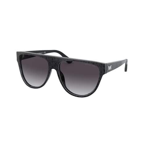 Michael Kors MK2111 35568G 57 Black Grey Jacquard Logo Woman Irregular Sunglasses