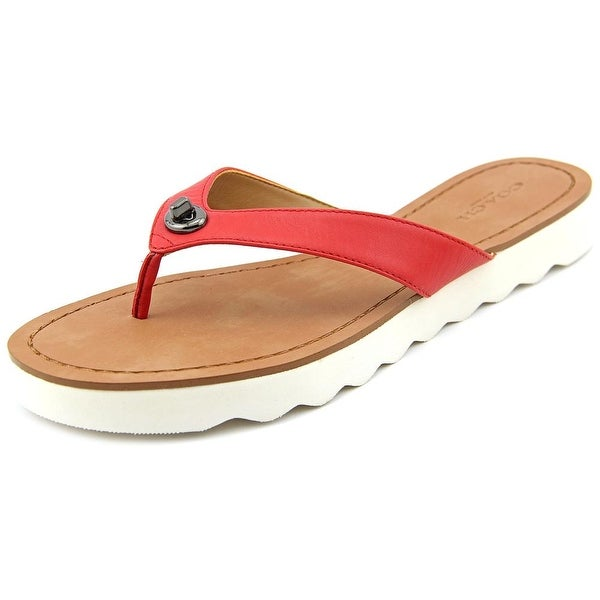 Coach Shelly Women Open Toe Leather Red Flip Flop Sandal