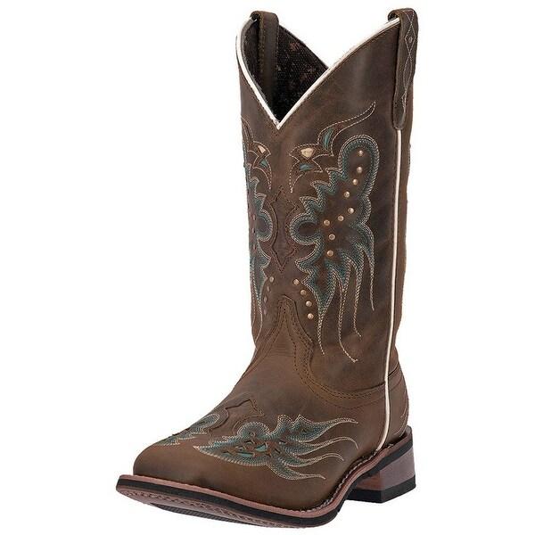 "Laredo Western Boots Womens Cowboy 11"" Wing Underlay Dark Tan"