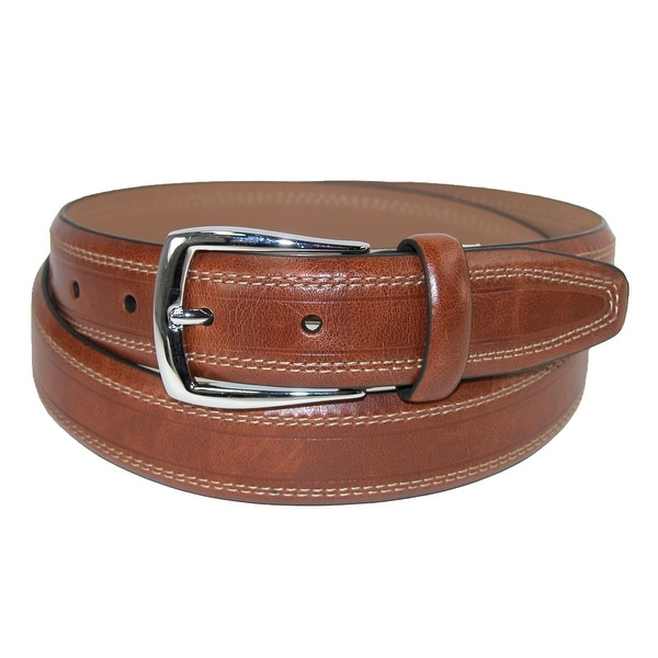 Dockers Men's Feathered Edge Contrast Double Stitch Belt