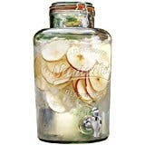 Palais Glassware Clear Glass Beverage Dispenser with Bail and Trigger Locking Lid 2 Gallon Nantucket Embossed.