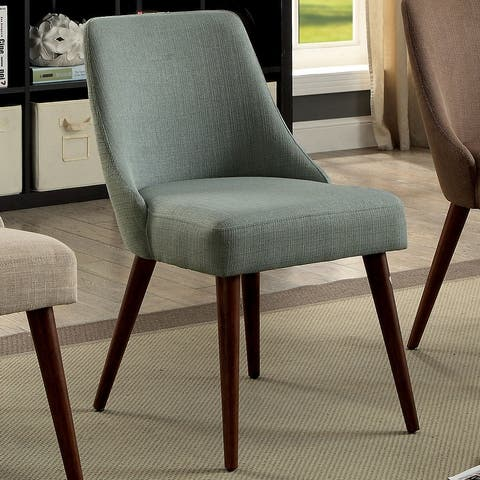 Furniture of America Sind Mid-Century Fabric Armless Chairs Set of 2
