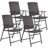 Costway Set of 4 Folding Rattan Chair Outdoor Indoor Furniture Brown - set of 4