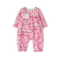 Isobella & Chloe Baby Girls Hot Pink Flower Pattern Lace Romper
