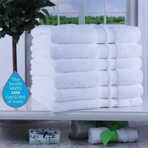 Enova 100% Pure Green Cotton Hospitality Bath Towels 6 Pack, White