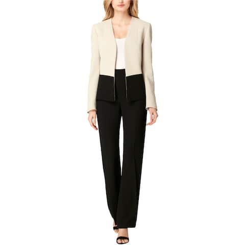 Tahari Womens Colorblock Blazer Jacket, beige, 6P