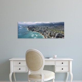 Easy Art Prints Panoramic Image 'Buildings at the waterfront, Waikiki Beach, Honolulu, Oahu, Hawaii' Canvas Art