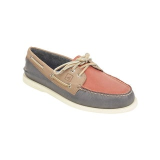 Sperry Mens A/O 2-Eye Boat Shoes in Blue/Red/Beige